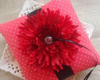 Wedding Ring Bearer Pillow - Red Chrysanthemum on Red & White Swiss Dots