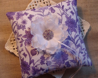 Wedding Ring Bearer Pillow - White Peony on Plum & White