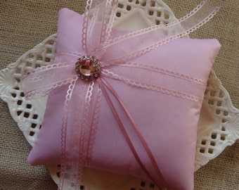 Wedding Ring Bearer Pillow -  Soft Pink Organza Scalloped Edge Side Bow on Soft Pink Tafetta