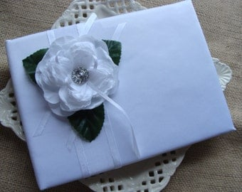 Wedding Guest Book - White Open Rose On White Satin