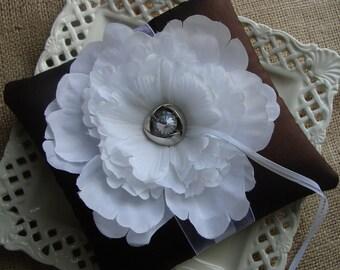 Wedding Ring Bearer Pillow - White Peony on Dark Brown Tafetta