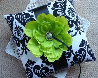 Wedding Ring Bearer Pillow - Apple Green Peony on Black & White Damask