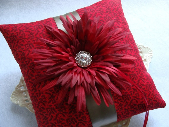 Wedding Ring Bearer Pillow - Deep Red Gerbera Daisy on Red & Black / Taupe