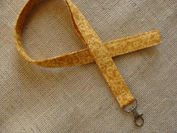 Lanyard Badge ID - Swirls - Gold & Cream