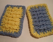 Kitchen Scrubbies - Sponges 100% Cotton Yellow and Blue set of 2