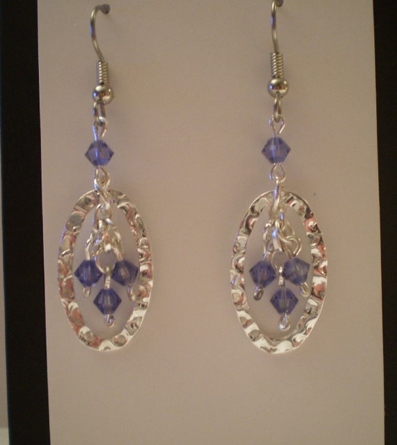 Hand Crafted Beaded Silver with Amethyst  Dangle Earrings Swarovski Crystal