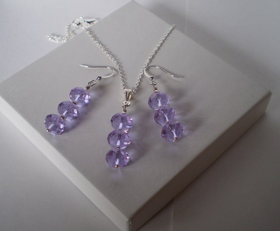 Swarovski Crystal and Sterling Silver Necklace & Earrings Set Free Ship
