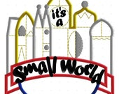 Small World Banner Logo Machine Applique Embroidery Design, Multiple Sizes