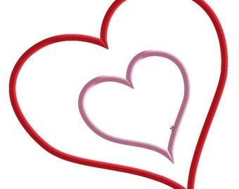 Valentine Hearts Machine Applique Embroidery Design, Mulitple Sizes