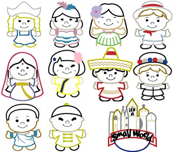 Small World Set, Including 10 Children and Banner, Machine Applique Embroidery Design, Multiple Sizes