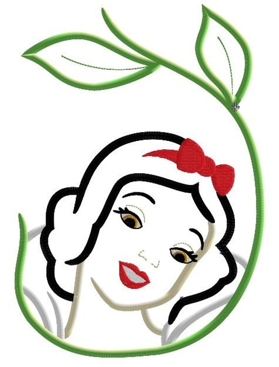 Snow Princess with Vine Machine Applique Embroidery Design, Multiple Sizes