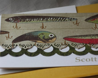 Personalized fish handcrafted Note Cards - personalization may be left off  Set of 5