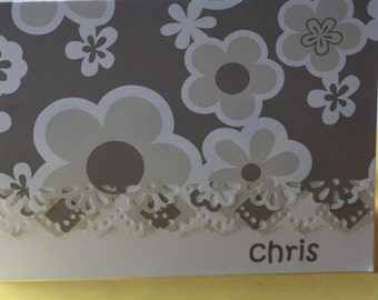 Personalized tan flower handcrafted Note Cards - personalization may be left off Set of 5