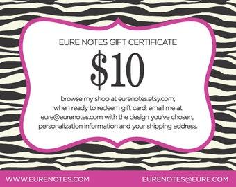 Eure Notes Gift Certificate - Ten Dollars