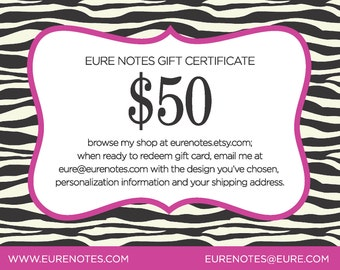 Eure Notes Gift Certificate - Fifty Dollars