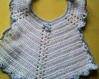 Hand Crocheted Baby Bib Made from a Vintage Pattern Baby Shower Gift