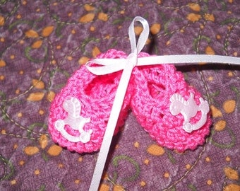 Hand Crocheted Miniature Baby Shower Favors Choice of Booties or Sweater Set of 12