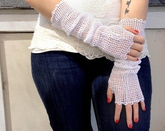 Filet Crochet Open Weave Fingerless Gloves with Crystal Accents Elbow Length