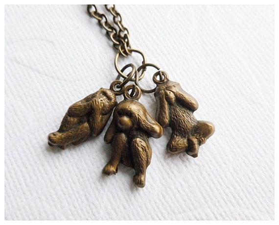 See No Evil Necklace - Three Wise Monkeys