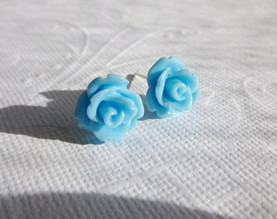 Blue Rose Earrings - Flower Studs