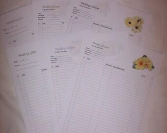 Wedding Gift Recorder, Bridal Shower, Wedding Shower GIft Record Sheet, Printable, Yellow Floral