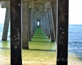 Under the Pier blue green ocean view beach nautical perspective zen 8 x 10 fine art photograph - LookingAtClouds