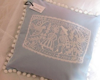 Day of the Dead Papel Picado Customized Embroidered Wedding Pillow