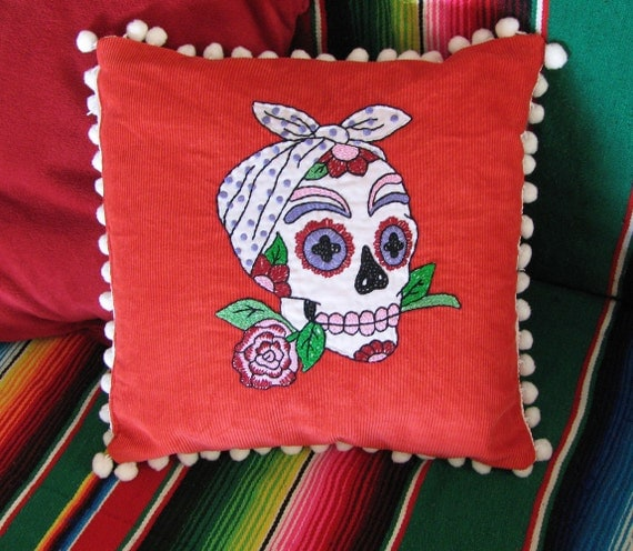 Day of the Dead Rockabilly Sugar Skull Embroidered Calavera Pillow