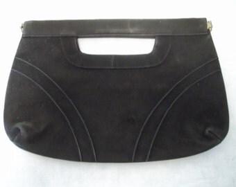 Black Vintage Locking Hinge Soft Fabric Clutch Purse