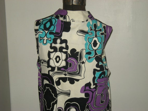 Sleeveless Mod Vintage 60's Vibrant Abstract Floral Maxi Dress with Side Slits Free Shipping