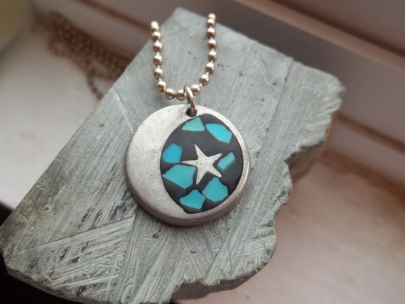 Vintage Silver Metal Round Sun and Star Blue Enamel Necklace Pendant