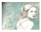 blue portrait-fashion doodle-small print- 5x7 print of fashion model portrait
