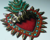 Tin sacred heart Mexican wall art studded