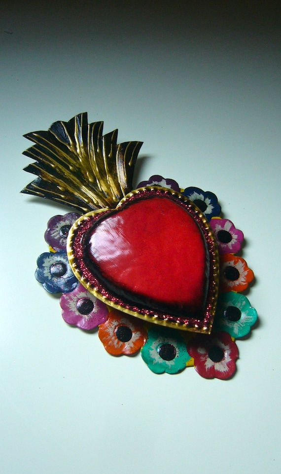 Tin sacred heart Mexican wall art multicolored ON HOLD