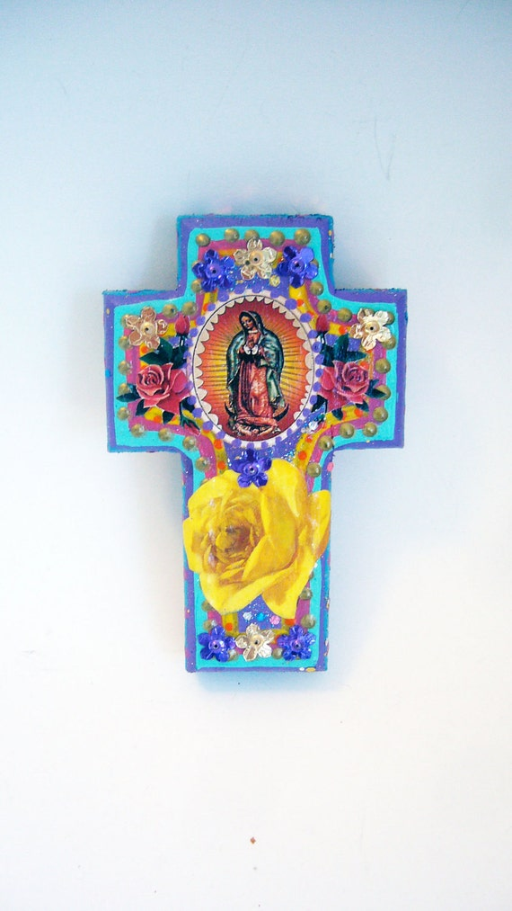CLEARANCE // Spring sale on sale // Vintage rustic  image of Virgin mary // Our Lady of Guadalupe on purple and blue cross with yellow rose