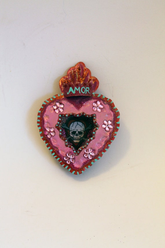 AMOR love gift // Tin heart nicho // Red and pink // Skull rockabilly // LOVE Etsy // retro tattoo // sailor jerry // skull crossbones