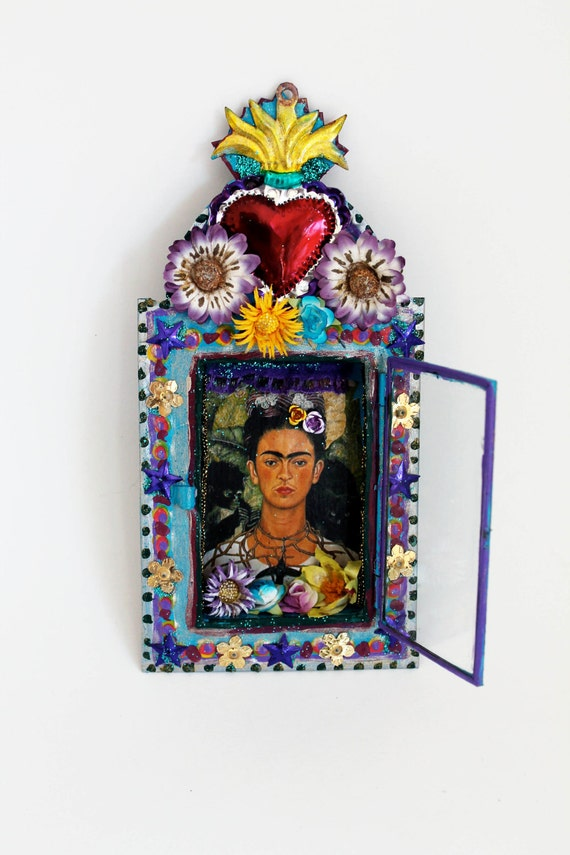 frida kahlo mexican tin nicho metal shadow box      mexico folk