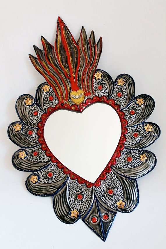 Sacred Heart Tin Metal Mirror Mexican Folk Art Hammered