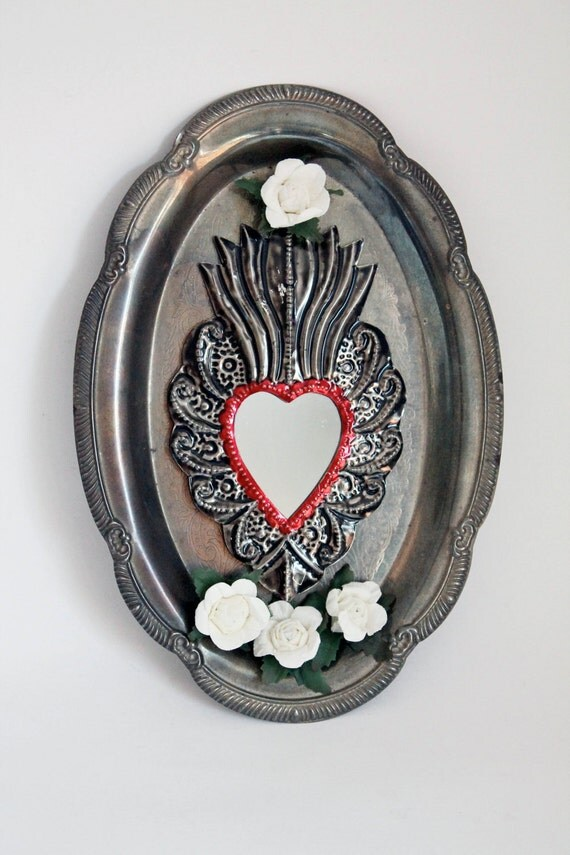 Antique silver platter upcycled into beautiful wall art with Mexican tin sacred heart and mirror