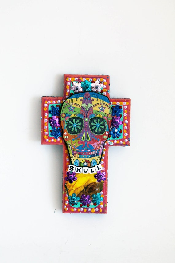 Mexican Sugar Skull on wooden cross / ROYGBIV rainbow / Day of the Dead // one of a kind art / summer trends PINK / multicolor
