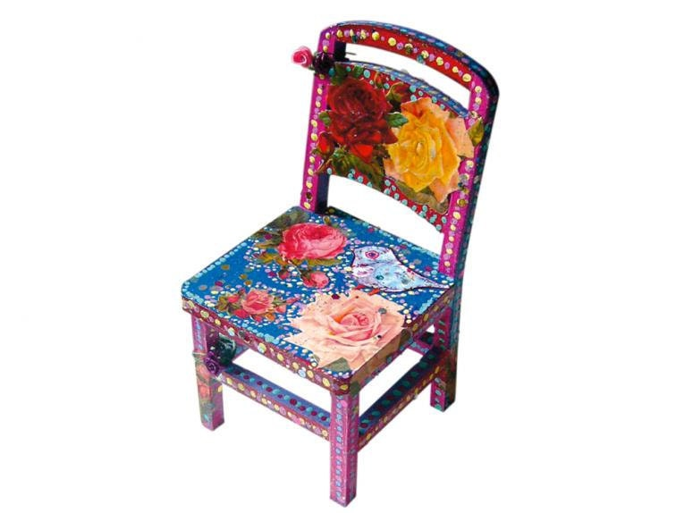 miniature chair folk art folklorico hand painted pink red and