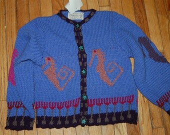 Hand Knit Cardigan Sweater Seahorse Design Original by Scott Torkelson Montera yarn