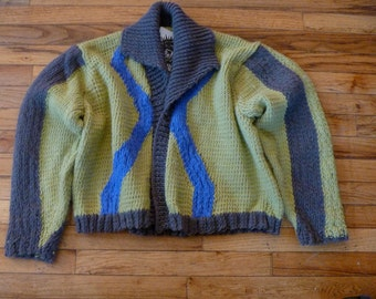 Blue green shawl collar  original hand knit cardigan by Scott Torkelson no closures