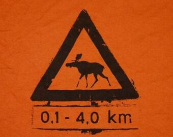 Norwegian Moose Crossing Tshirt Adult sizes Small through 2X-Large Texas Orange