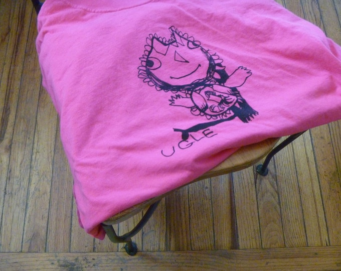 Ugle Norwegian for Owl  Adult X-Large shirt in pink Designed by Katya