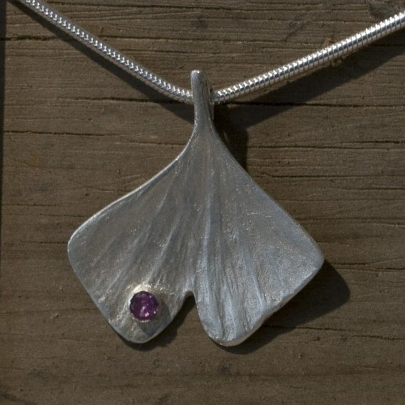 Ginkgo Leaf with Gem Necklace in Eco-Friendly Fine Silver