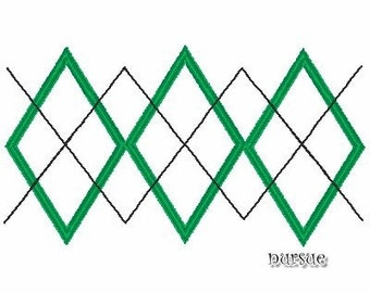 INSTANT Download Argyle design   Machine embroidered or applique 4X4  5X7
