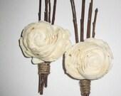 Rustic Balsa Wood Flower Wedding Boutonniere