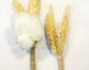 Cotton and Wheat Rustic Boutonniere