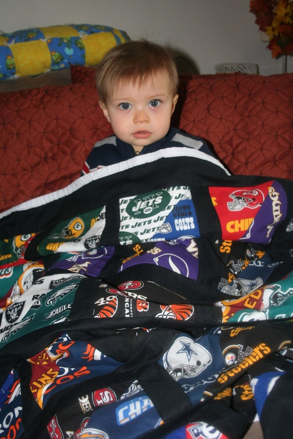 Only 1 LEFT  of this kind of Quilt  World Champion football lap quilt